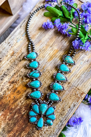 AUTHENTIC Turquoise Stone - Squash Chain Necklace