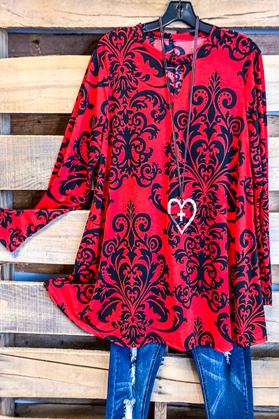 Damask Fairytale Top - Red - SALE