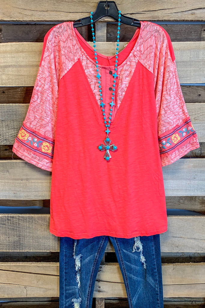 Over The Rainbow Top - Coral - 100% COTTON