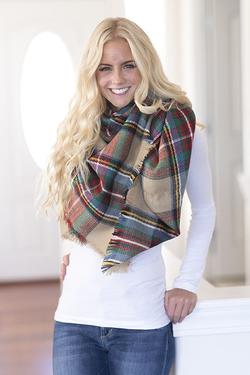 Classy Plaid Scarf - Leto - Scarf - Angel Heart Boutique  - 1