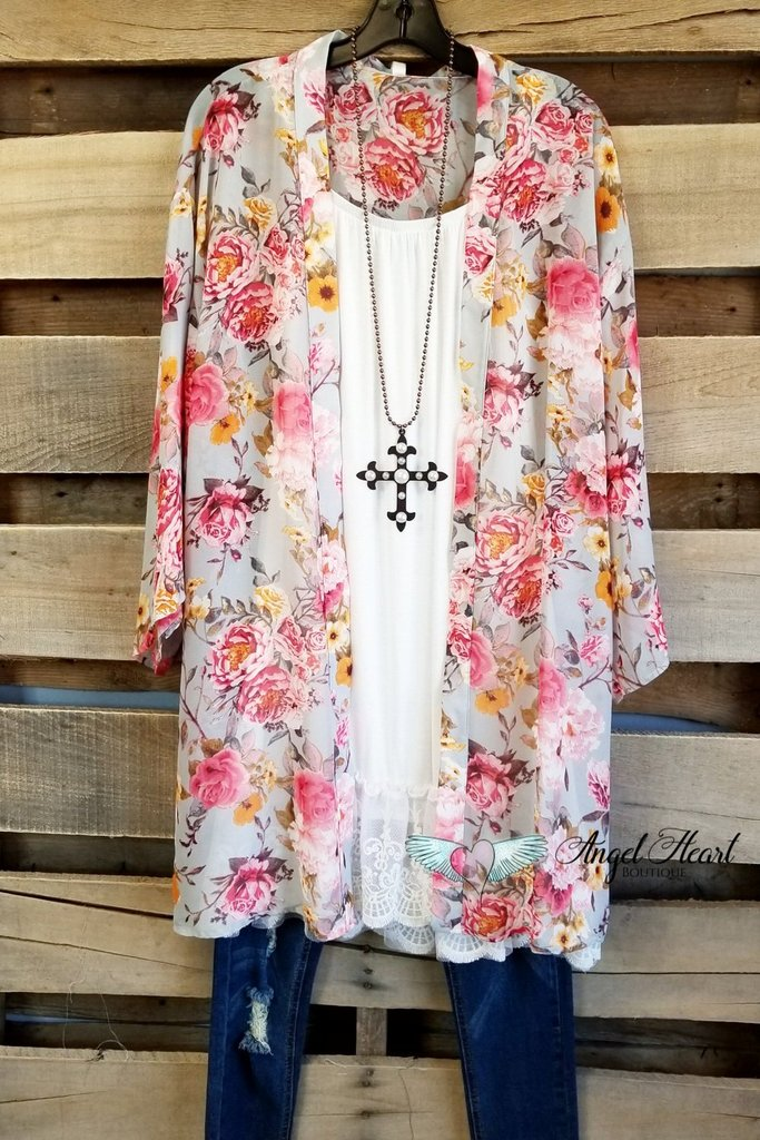 Sweet Summer Times Cardigan - Silver/Pink [product type] - Angel Heart Boutique