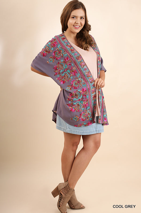 More Than Words Kimono - Cool Grey [product type] - Angel Heart Boutique