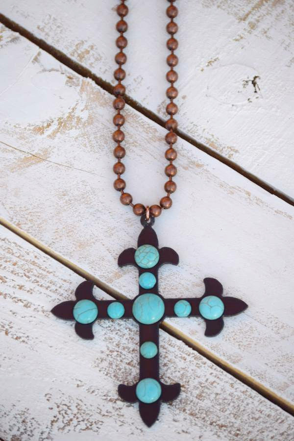 Cross To My Heart Necklace - Pearl - Turquoise Heavan - Necklace - Angel Heart Boutique  - 2