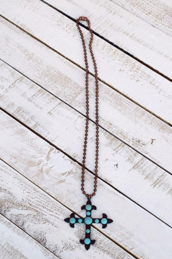 Cross To My Heart Necklace - Pearl - Turquoise Heavan - Necklace - Angel Heart Boutique  - 4