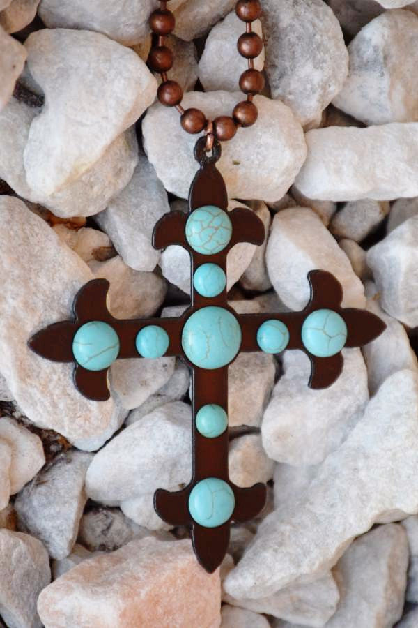 Cross To My Heart Necklace - Turquoise - Turquoise Heavan - Necklace - Angel Heart Boutique  - 4