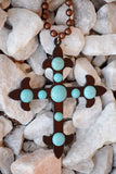 Cross To My Heart Necklace - Turquoise [product type] - Angel Heart Boutique