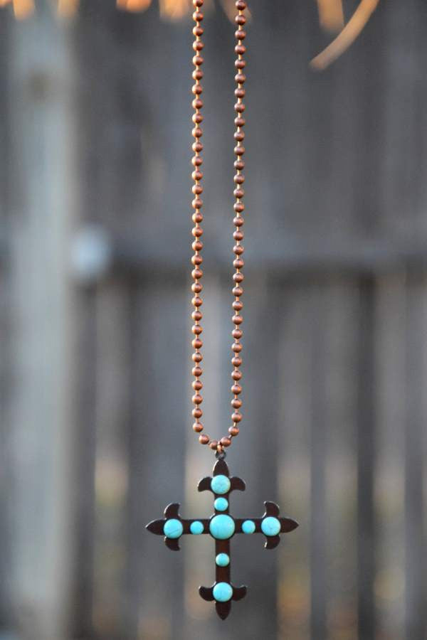 Cross To My Heart Necklace - Pearl - Turquoise Heavan - Necklace - Angel Heart Boutique  - 6