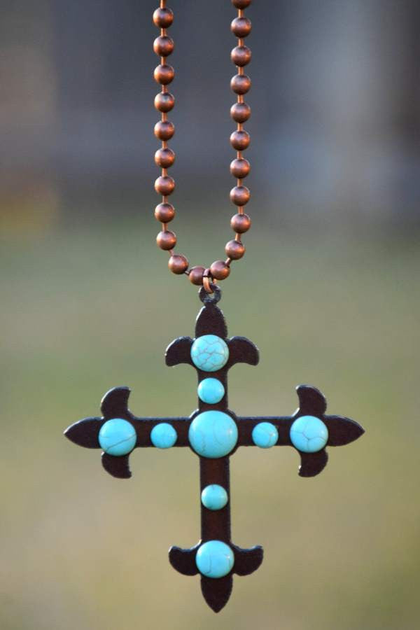 Cross To My Heart Necklace - Pearl - Turquoise Heavan - Necklace - Angel Heart Boutique  - 7