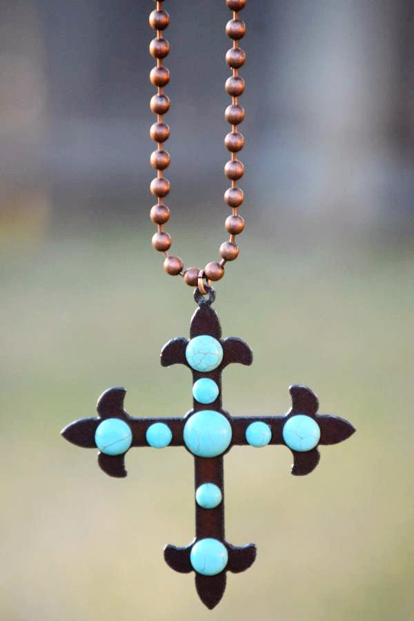 Cross To My Heart Necklace - Pearl - Turquoise Heavan - Necklace - Angel Heart Boutique  - 3