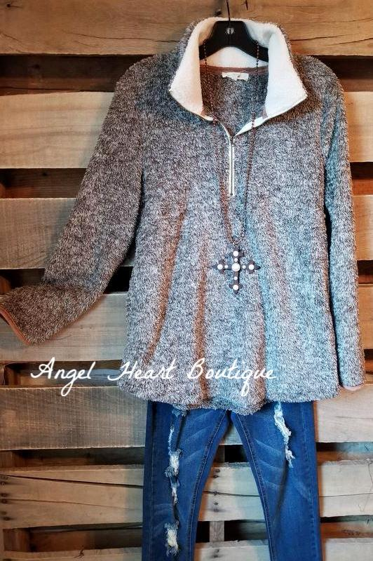 That Sherpa Sweater - Mocha - SALE [product type] - Angel Heart Boutique