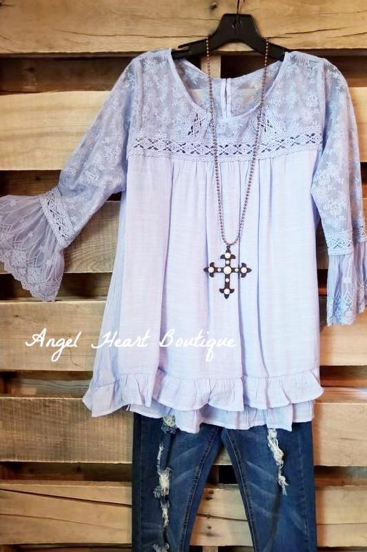 Lace Bell Sleeve Top - Periwinkle