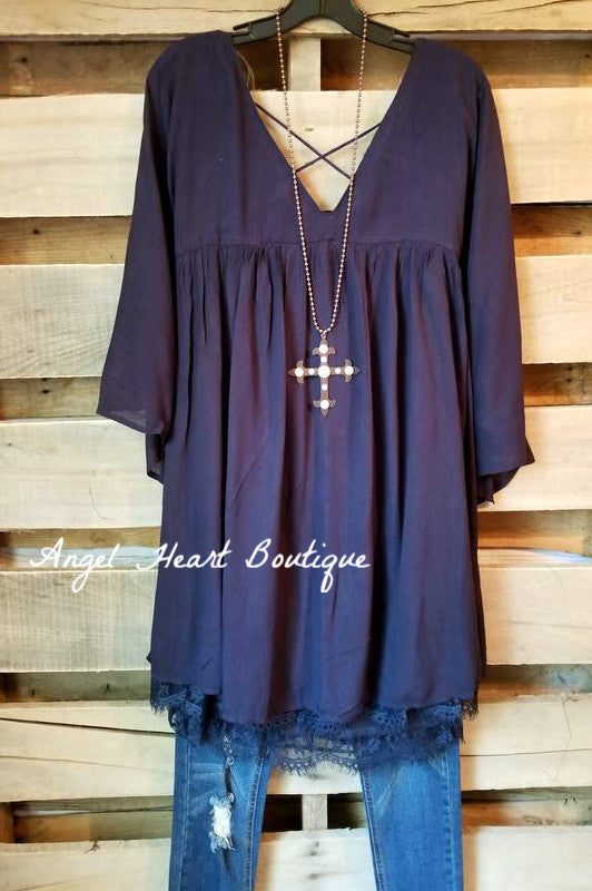 Here When You Need Me Tunic - Navy