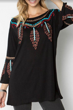 Embroidery Tee Navajo- Black- DOORBUSTER [product type] - Angel Heart Boutique