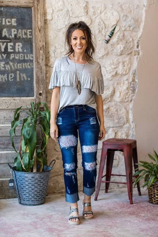 Lace and Denim Mid Wash Jeans