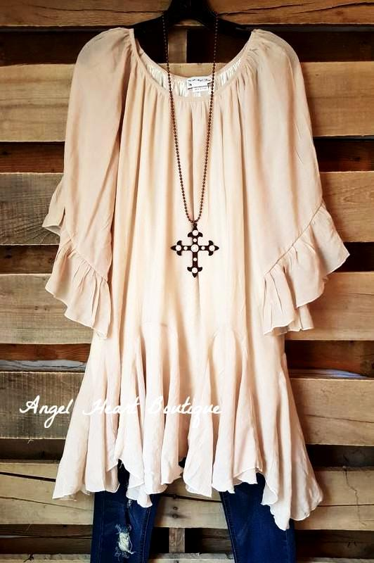 The It Girl Oversized Loose Fitting Tunic - Beige [product type] - Angel Heart Boutique