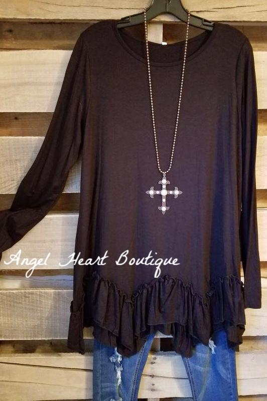 Keep It Real Tunic - Black - SALE [product type] - Angel Heart Boutique