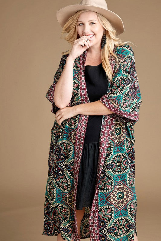 First Class Long Kimono - Black Teal