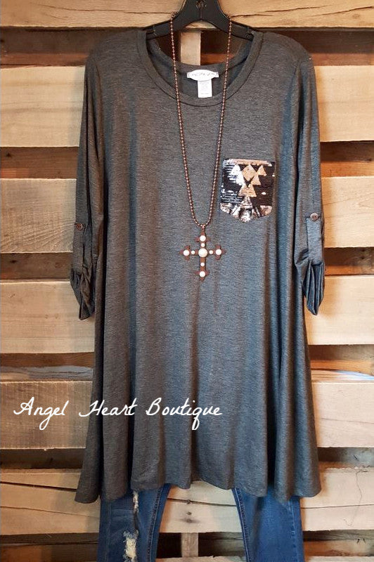 Classic With A Twist Tunic - Charcoal - Janette Plus - Tunic - Angel Heart Boutique