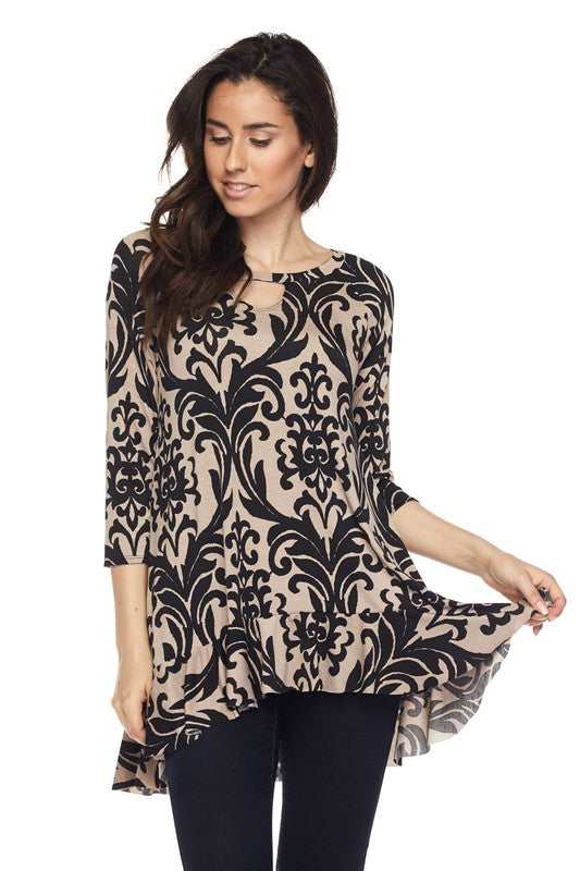 Damask Fairytale Top - Cream [product type] - Angel Heart Boutique