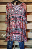 Into The Tribes Tunic - Burgundy - Sassy Look - Tunic - Angel Heart Boutique