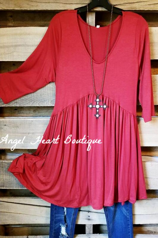 Not So Simple Top - Rust [product type] - Angel Heart Boutique