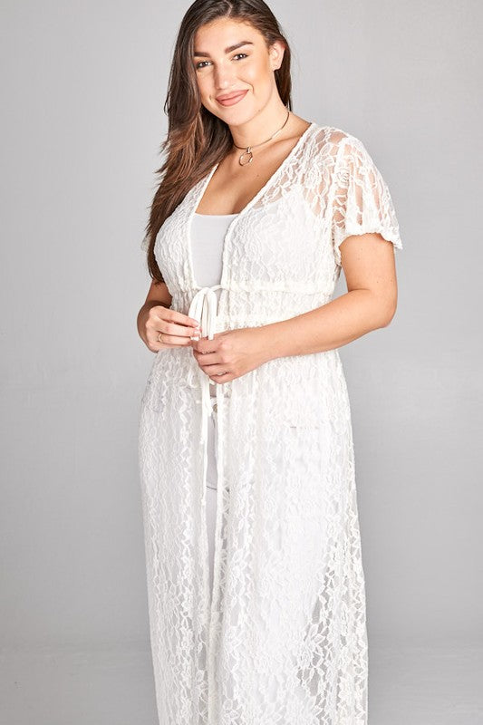 Lace Long Duster - Ivory [product type] - Angel Heart Boutique