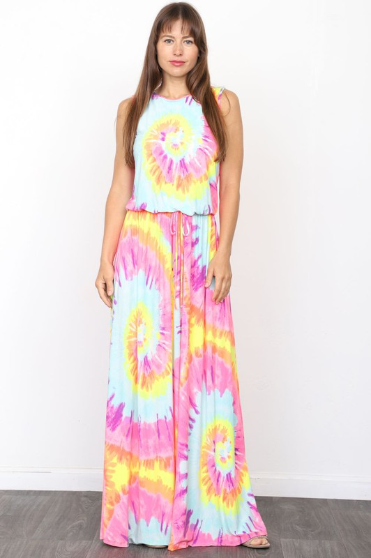 Bold and Bright Maxi Dress - Tie Dye - SALE