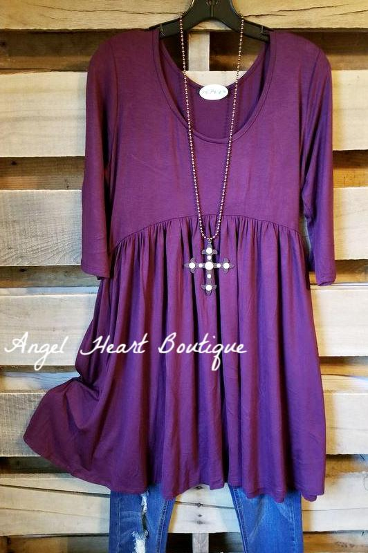 Walk My Way Tunic - Eggplant