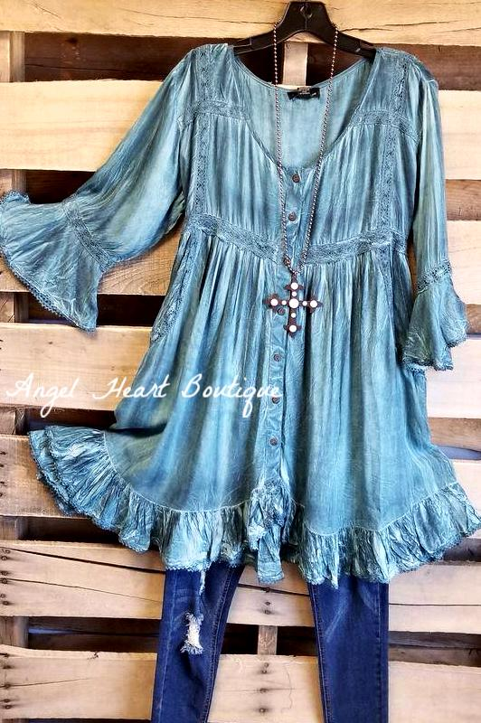 Feeling Inspired Top - Teal [product type] - Angel Heart Boutique