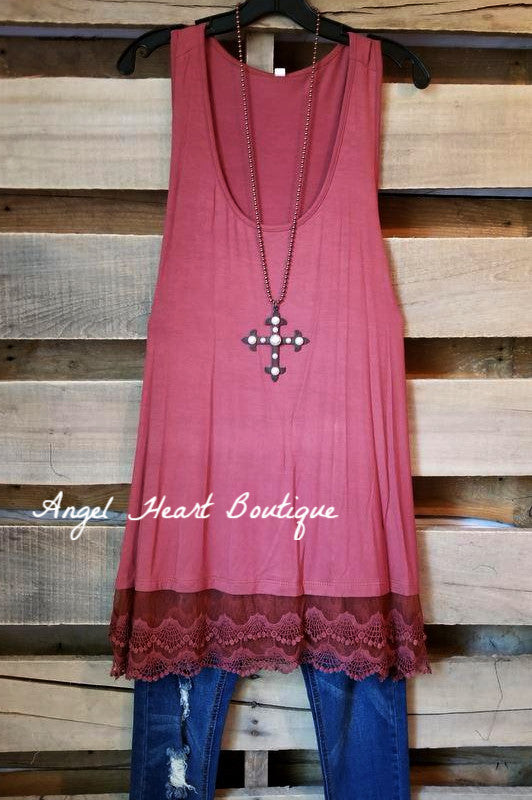 Extender: Slip on Tank/Tunic - Marsala [product type] - Angel Heart Boutique