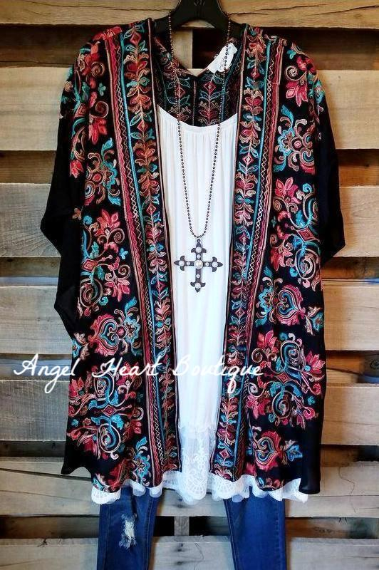 More Than Words Kimono - Black [product type] - Angel Heart Boutique
