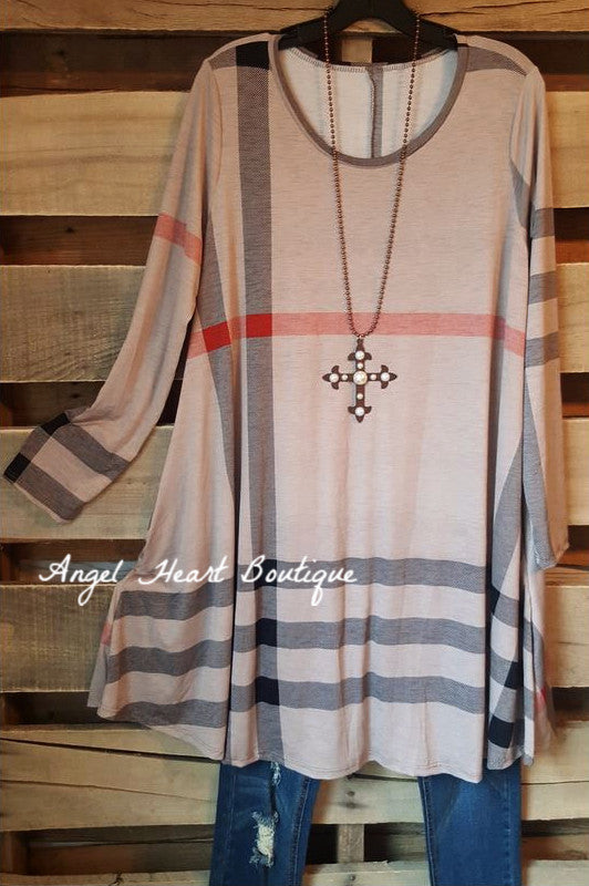 Plaid With Your Heart Tunic - Mocha - 2N1 Apparel - Dress - Angel Heart Boutique