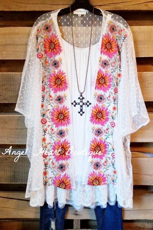 Sheer, Lace & Flowers Cardigan - Off White [product type] - Angel Heart Boutique