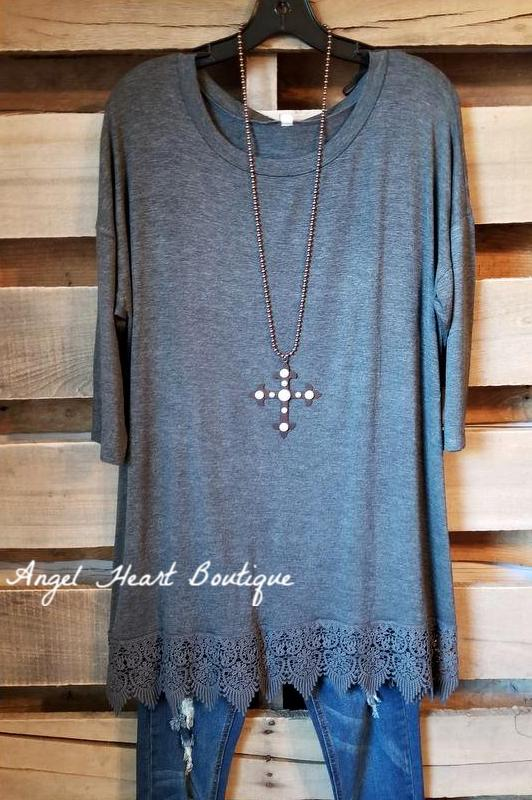 Take It Slow Tunic - Charcoal [product type] - Angel Heart Boutique