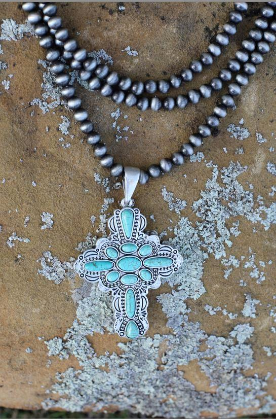 AUTHENTIC TURQUOISE STONE - Cruz Necklace [product type] - Angel Heart Boutique