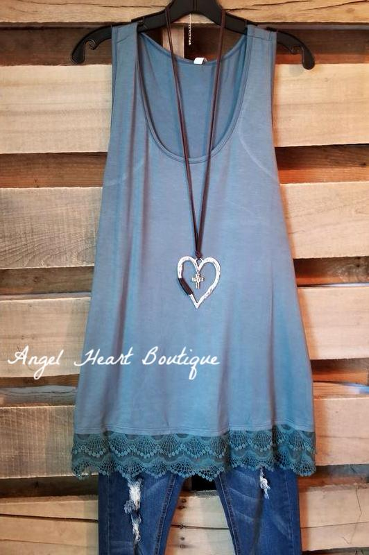 Extender: Slip on Tank/Tunic - Antique Blue [product type] - Angel Heart Boutique