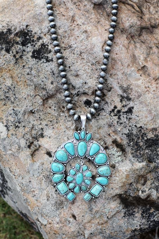 AUTHENTIC TURQUOISE STONE - Golden Love Necklace [product type] - Angel Heart Boutique