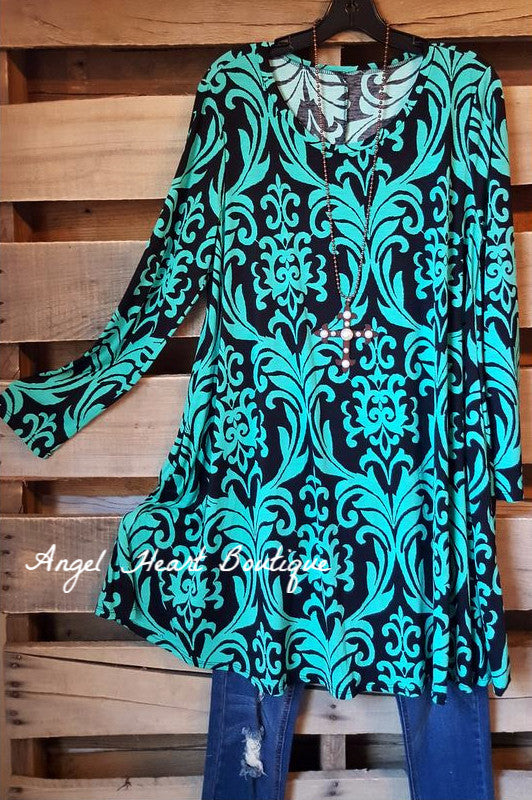 Damask Fairytale Tunic - Mint - Angel Heart Boutique - Tunic - Angel Heart Boutique