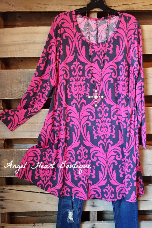 Damask Fairytale Tunic - Pink - Angel Heart Boutique - Tunic - Angel Heart Boutique