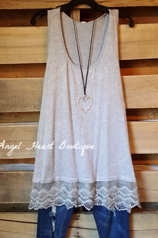 Extender: Slip on Tank/Tunic - Gray - Emerald - Dress - Angel Heart Boutique
