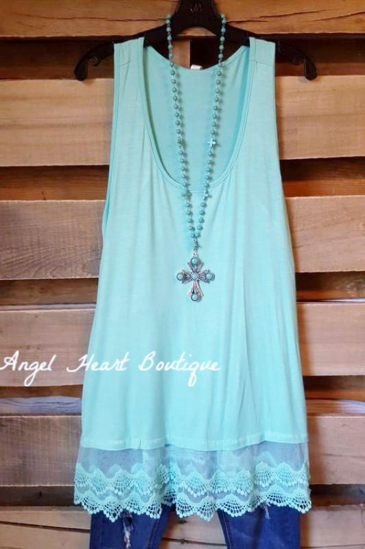 Extender: Slip on Tank/Tunic - Mint - Emerald - Dress - Angel Heart Boutique
