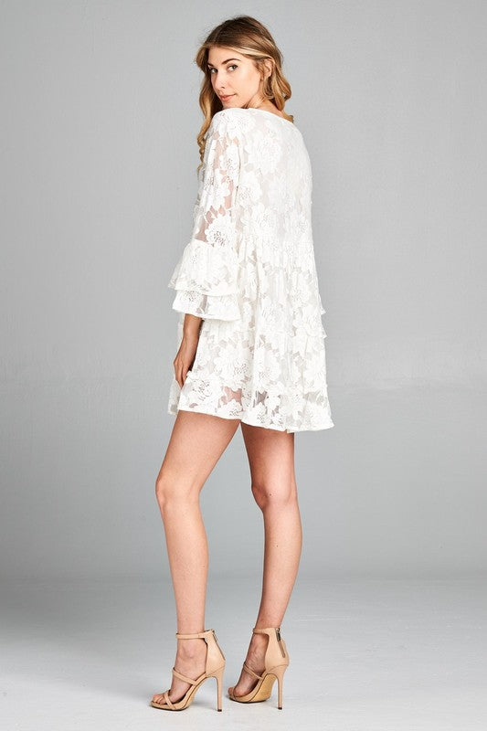 Sweetest Hour Lace Dress - White