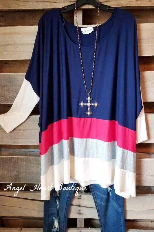 Classic Feeling Oversized Tunic - Navy - SALE [product type] - Angel Heart Boutique