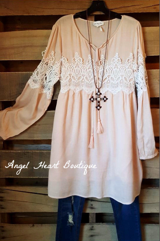 Spring Daze Dress - Peach/Rose - Tassels N Lace - Dress - Angel Heart Boutique