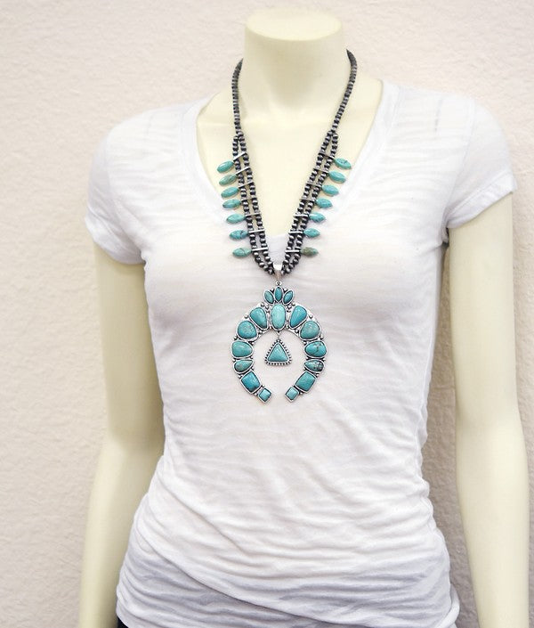 AUTHENTIC TURQUOISE STONE - Kairo Necklace [product type] - Angel Heart Boutique
