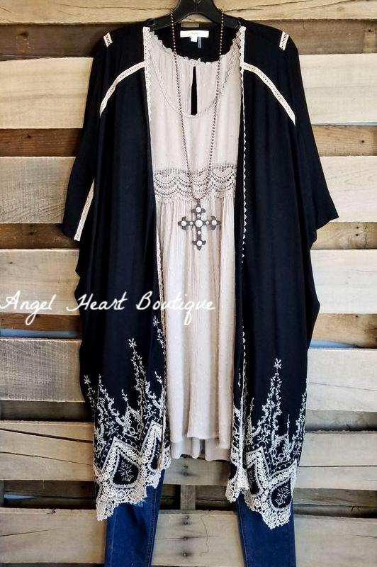 Classic Moment Cardigan/Kimono - Black [product type] - Angel Heart Boutique