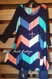 The Chevron Dress - Navy - 2N1 Apparel - Tunic - Angel Heart Boutique
