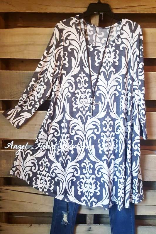 Damask Fairytale Tunic - Gray - Angel Heart Boutique - Tunic - Angel Heart Boutique