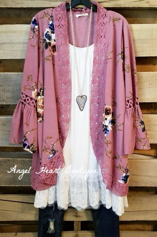 It Must Be Love Cardigan - Mauve [product type] - Angel Heart Boutique