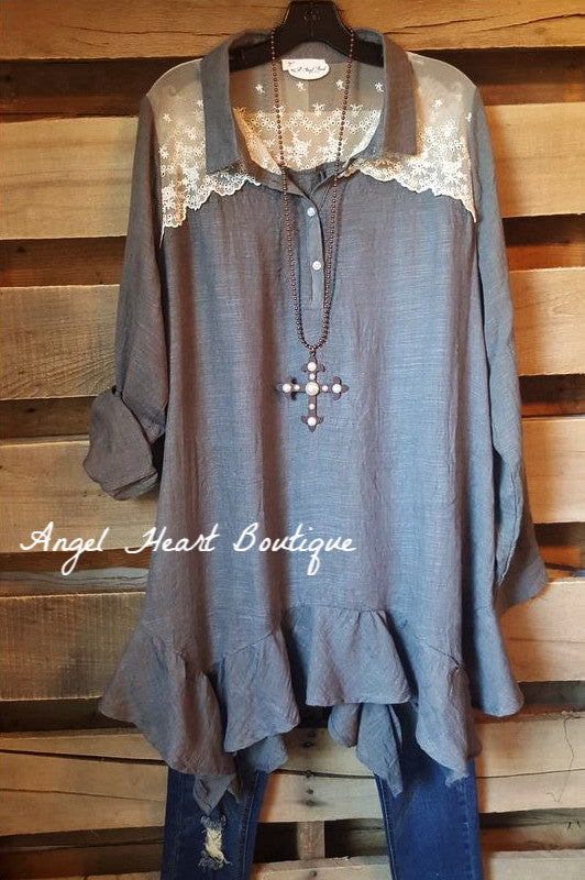 As Perfect As Can Be Tunic - Gray - Tassels N Lace - Tunic - Angel Heart Boutique